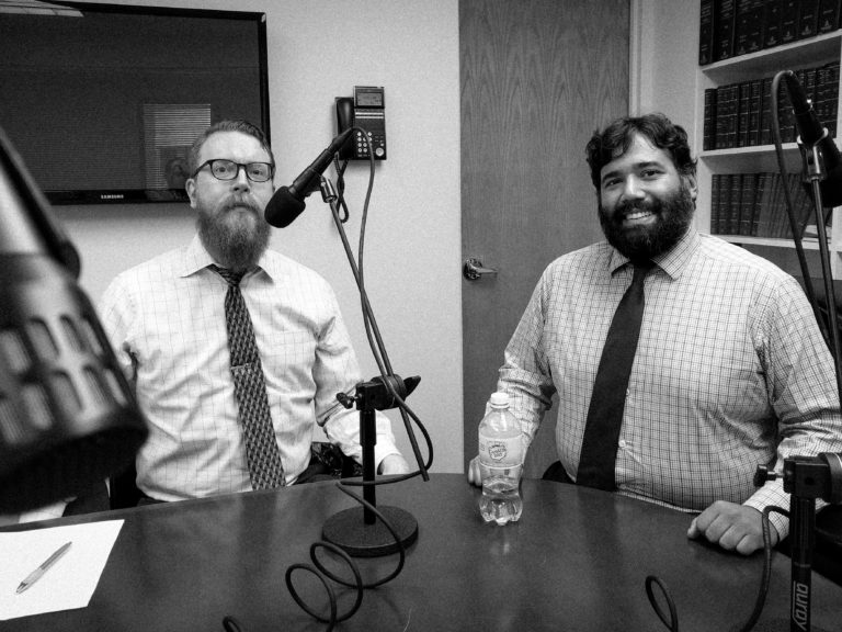 Chris Seleski and M. Frank Francis discuss learning to sell as a young attorney on the Legal Marketing Studio podcast; New York City, May 2017