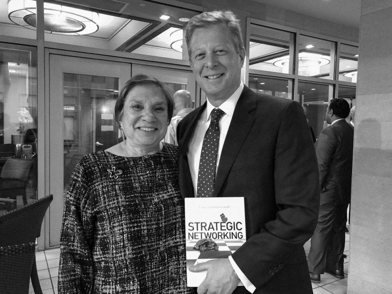 Carol Schiro Greenwald with Roger Barton at the release party for her book Strategic Networking for Introverts, Extroverts, and Everyone In Between